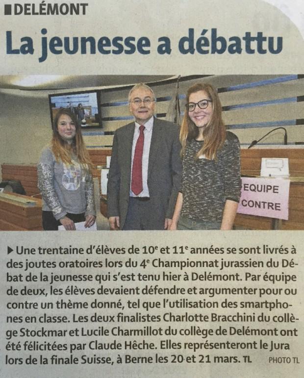 Le Quotidien Jurassien, 5 février 2015